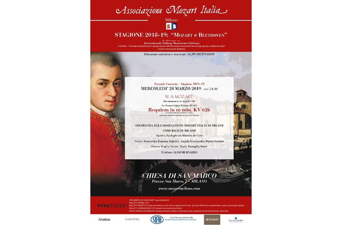 REQUIEM DI MOZART, diretto dal maestro Aldo Bernardi nella chiesa Di San Marco a Milano