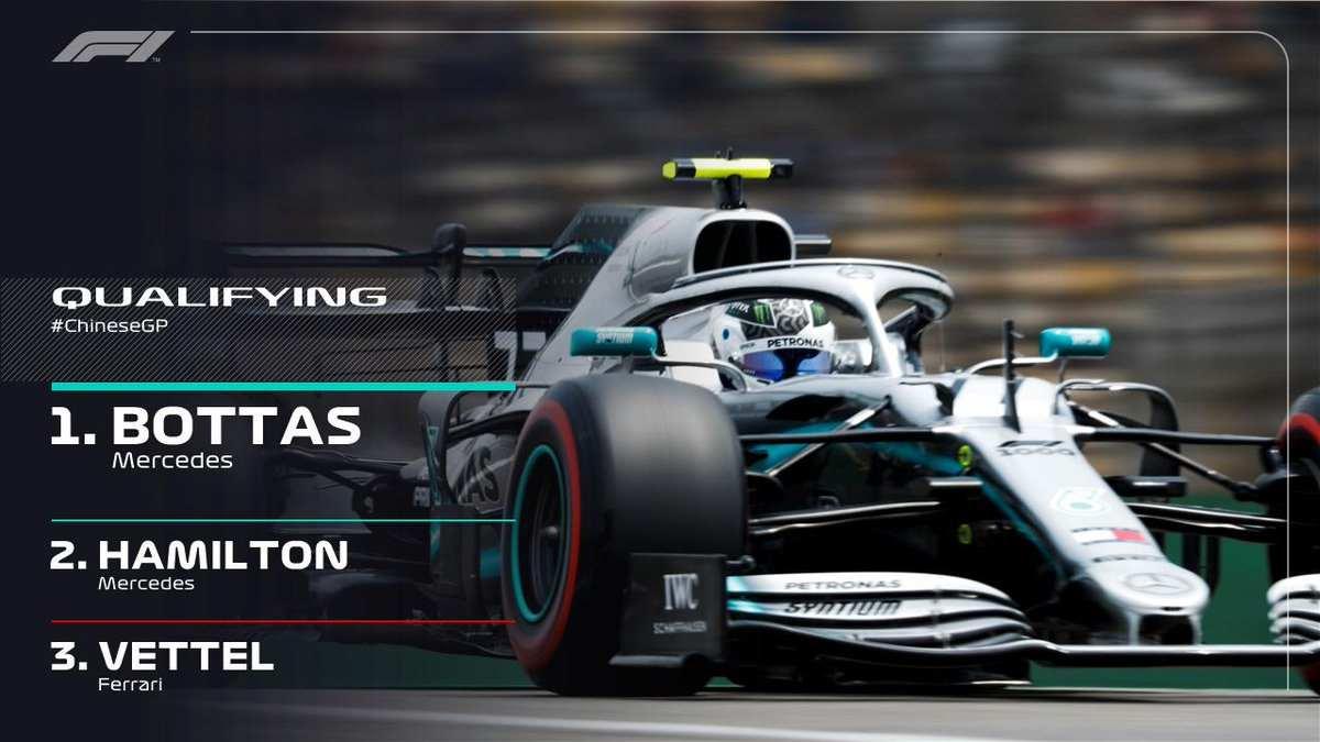 F1, nel GP della Cina 2019 è la Mercedes di Bottas a partire in pole