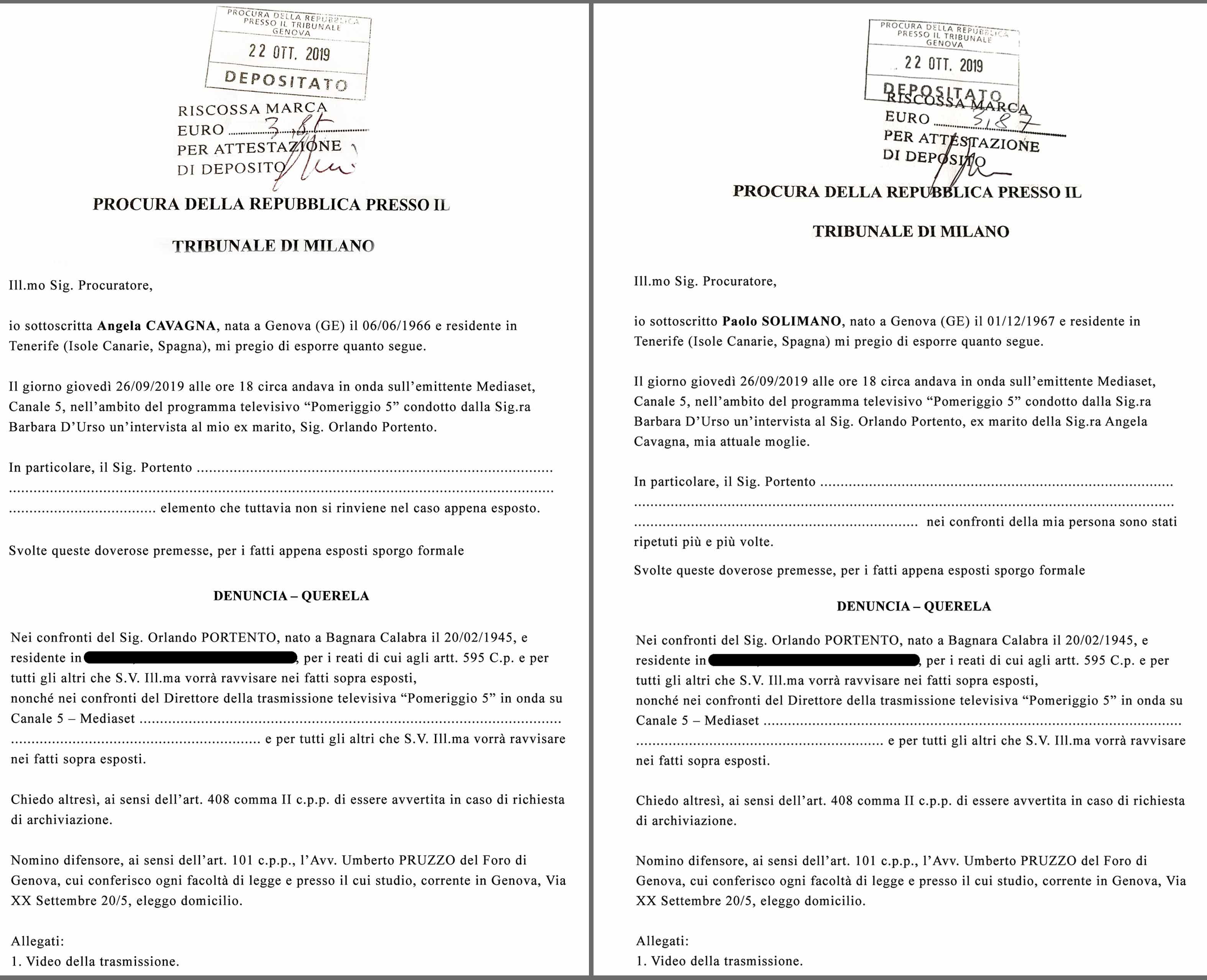 Angela Cavagna: dalle parole ai fatti! La ex showgirl pubblica le denunce depositate al Tribunale di Milano