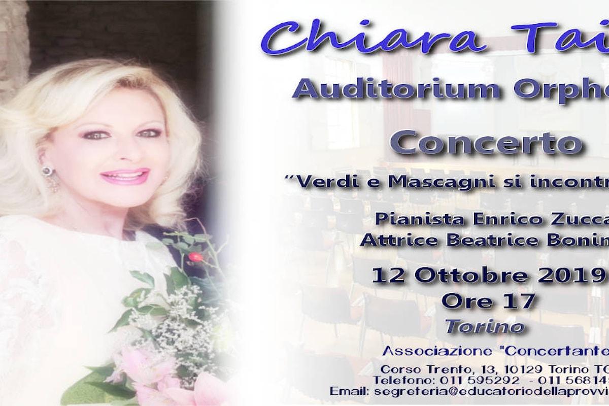 """CHIARA TAIGI, concerto """"Verdi e Mascagni si incontrano..."""" 12 Ottobre 2019 ore 17 all'Auditorium Orpheus di Torino"""