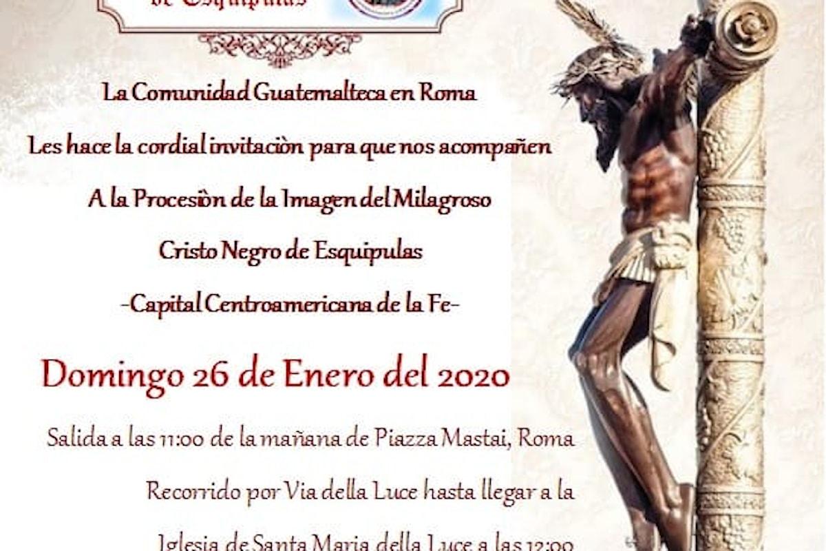 El Señor de Esquipulas in processione a Trastevere. Il Cristo guatemalteco venerato a Roma.