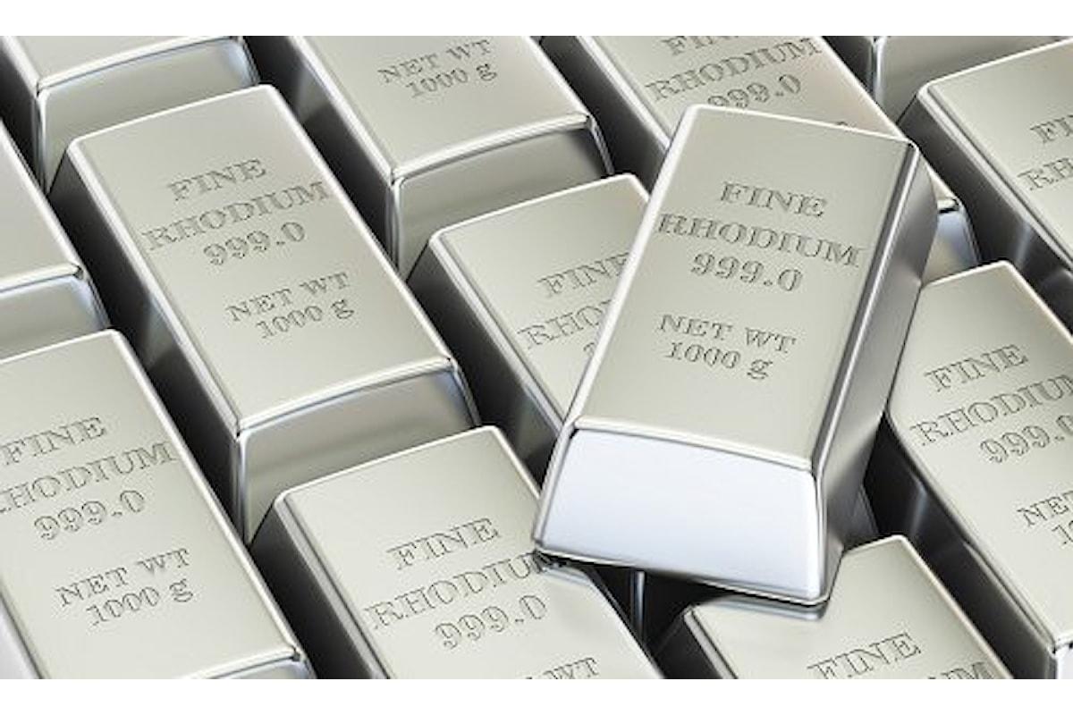 Quotazioni dei metalli, il rodio continua a fare scintille