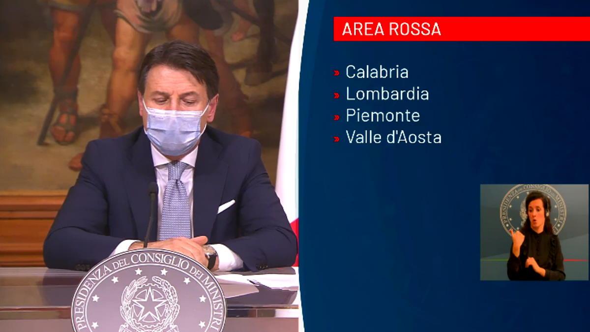 Conte presenta il Dpcm e comunica le regioni in fascia rossa: Lombardia, Piemonte, Calabria e Valle D'Aosta