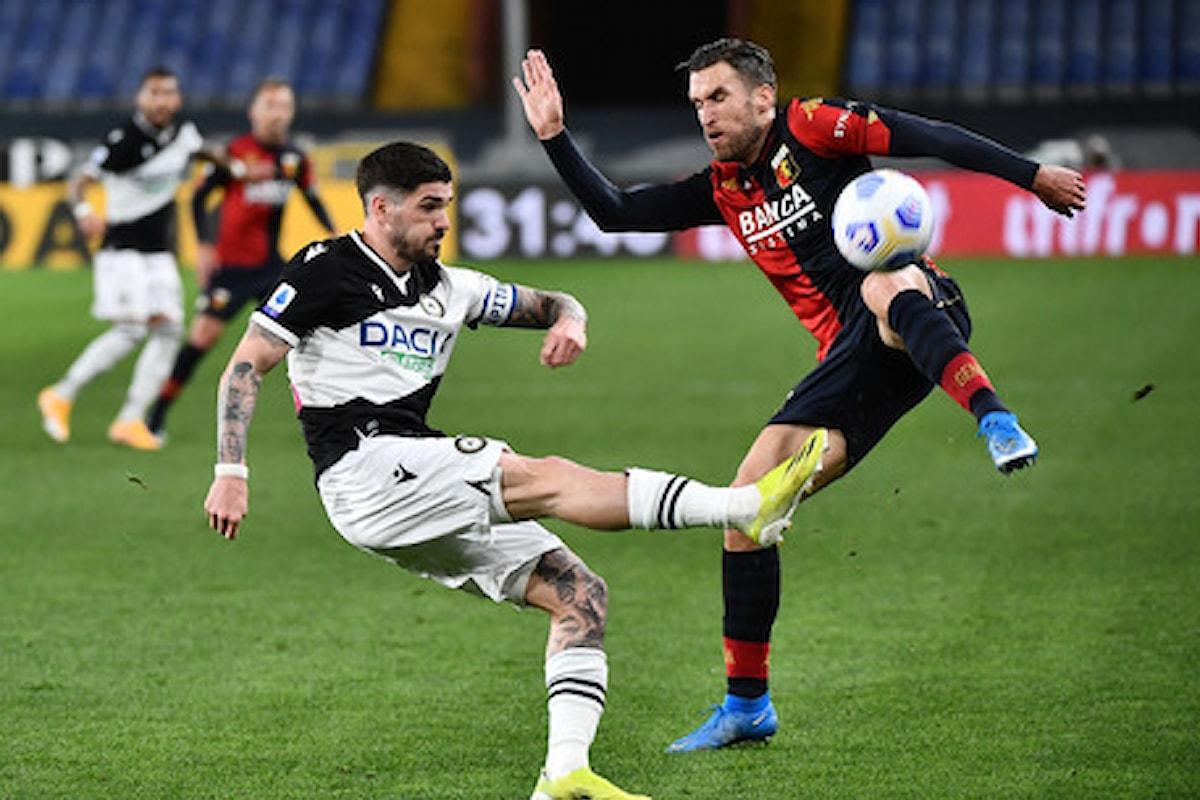 Serie A, 27.a giornata: Genoa-Udinese 1-1
