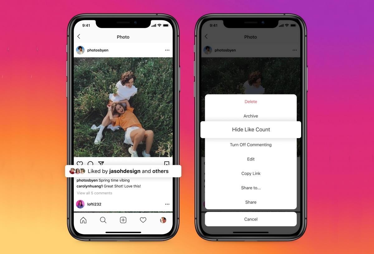 Instagram da adesso consente agli utenti di nascondere i mi piace ricevuti, Facebook lo farà a breve