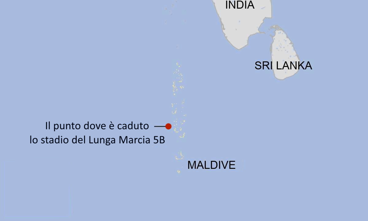 Lo stadio del razzo cinese Lunga Marcia 5B è caduto nell'Oceano Indiano