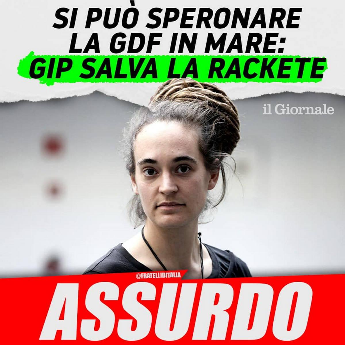 Carola Rackete non andrà a processo e la Meloni svalvola