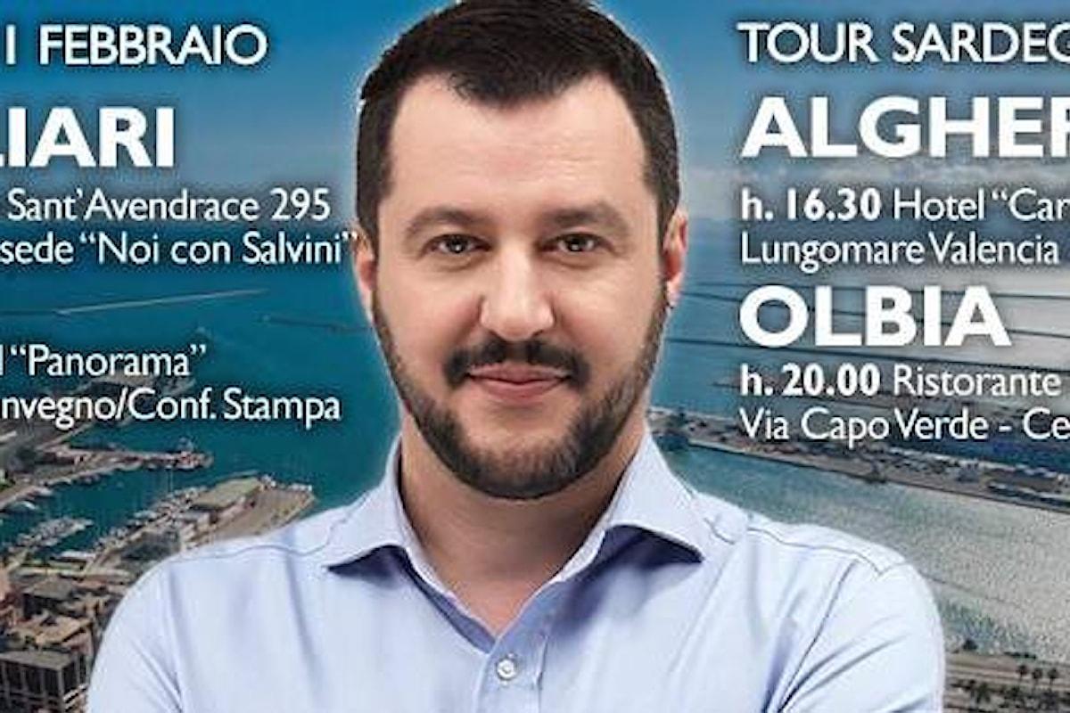 Tour di Salvini in Sardegna, come al solito manifestazioni e proteste