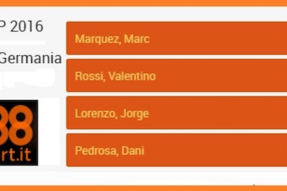 MotoGp, Sachsenring: super Marquez in quota, Rossi insegue a 3,25