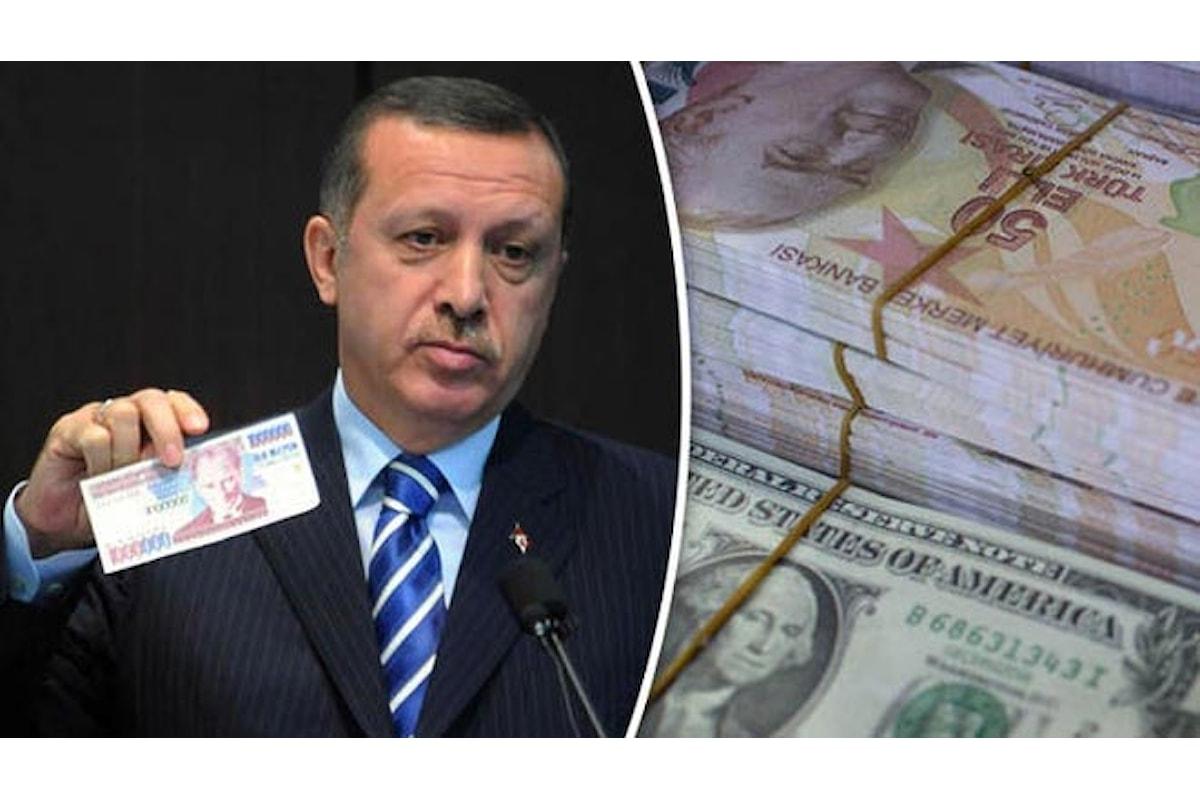 Lira turca, tracollo dopo le parole del presidente Erodgan