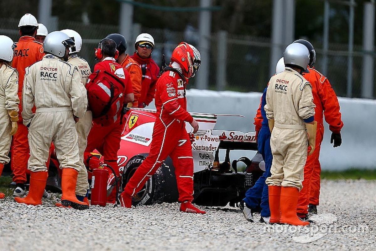 Le immagini dell'incidente di Raikkonen durante i test di Barcellona di mercoledì 8 marzo