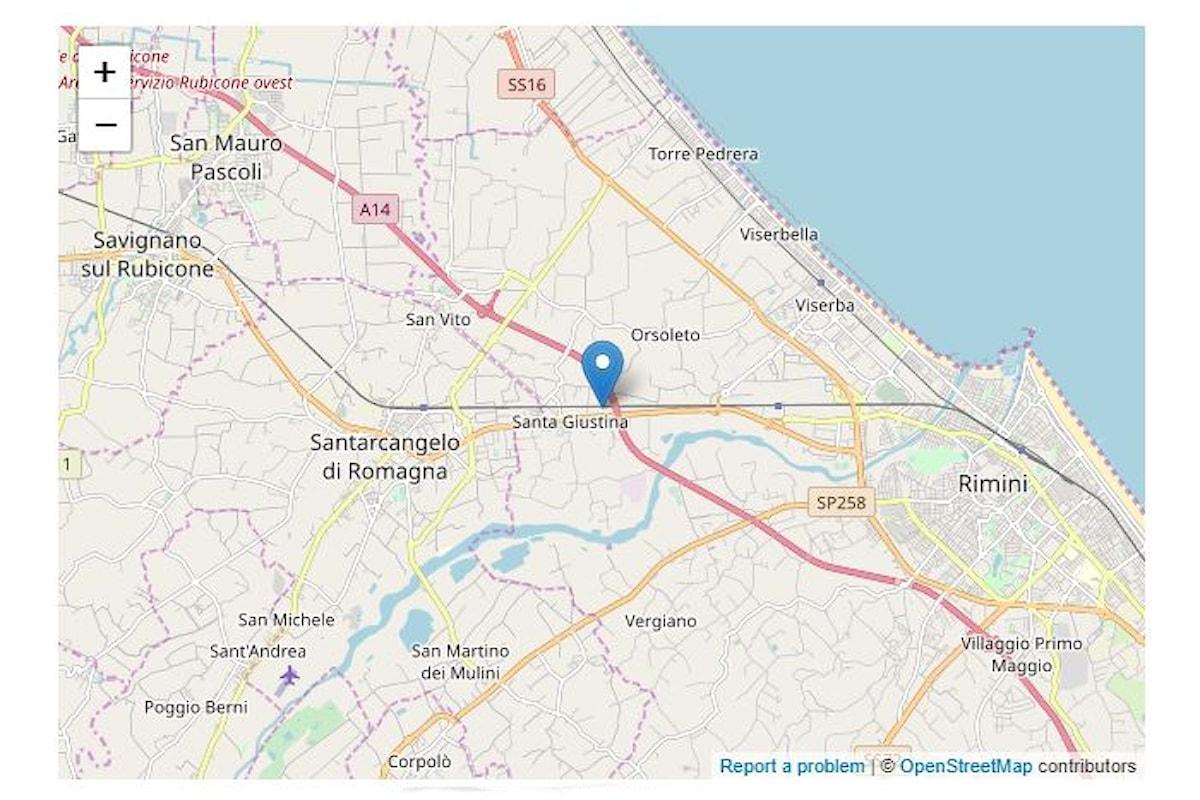 Scossa di terremoto di magnitudo 4.2 (ML) tra Rimini e Santarcangelo di Romagna