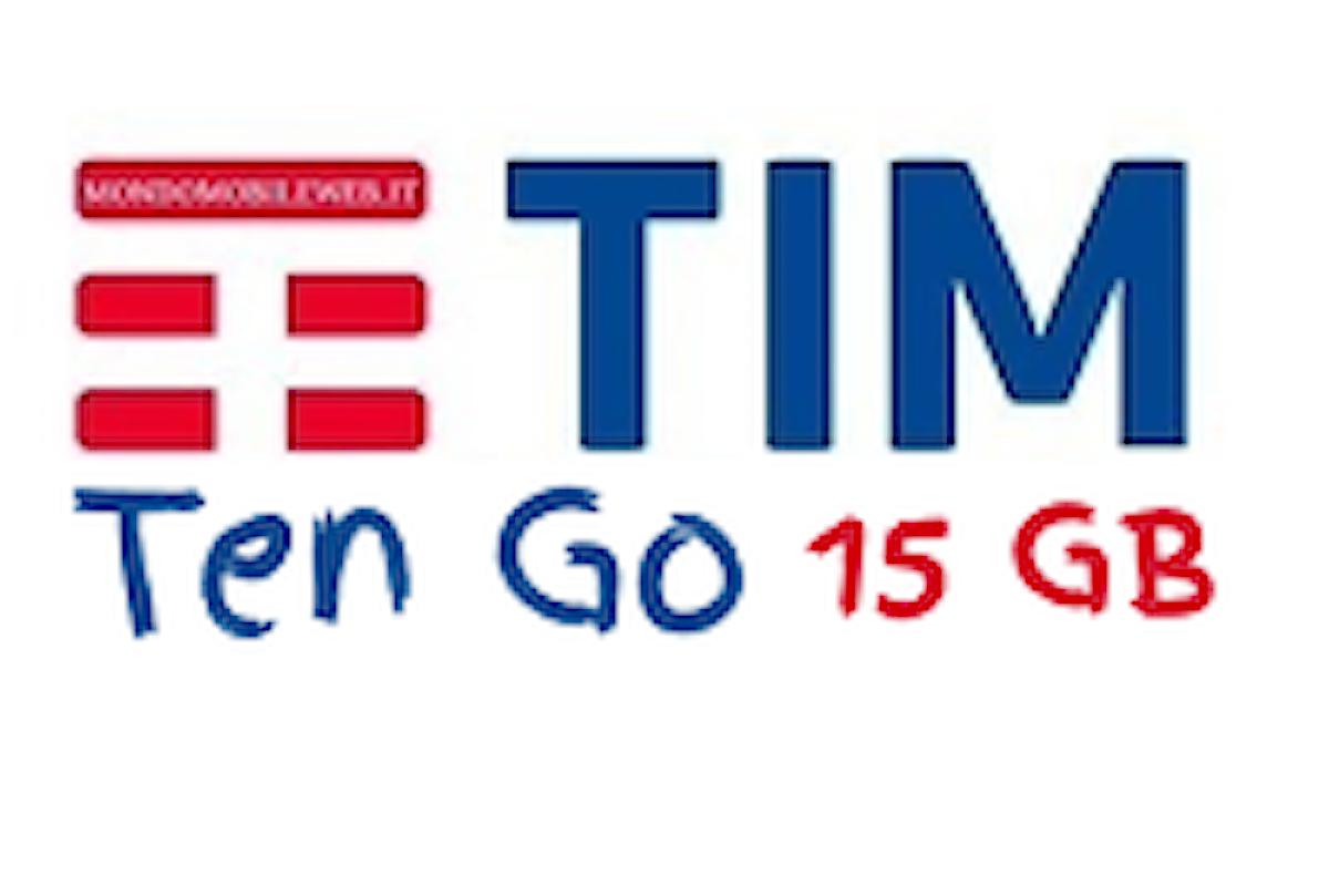 TIM Ten Go, minuti illimitati e 15GB a 10€ ogni 4 settimane