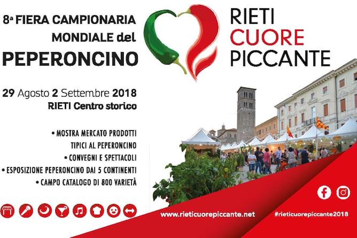 Rieti Cuore Piccante, dal 29 agosto al 2 settembre Rieti capitale mondiale del peperoncino