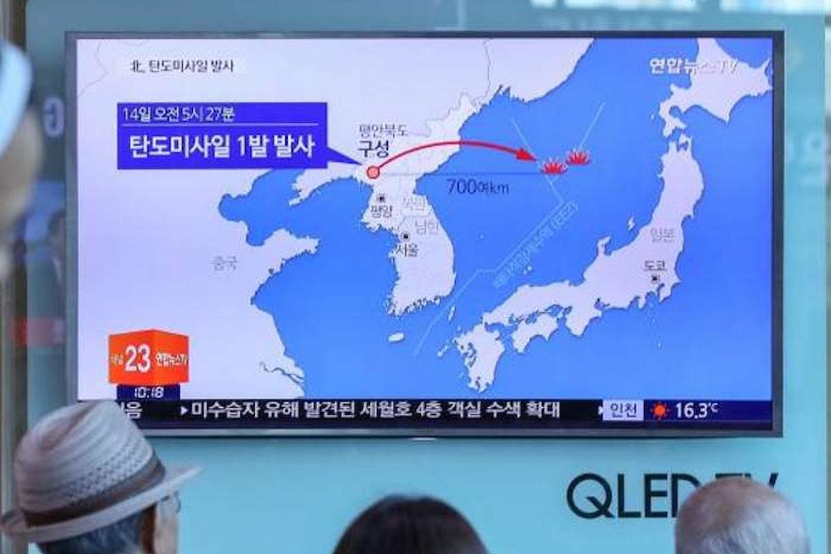 La Corea del Nord ha lanciato, come test, un missile balistico in direzione del Giappone