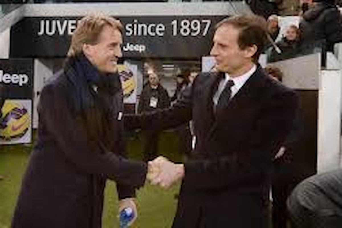 Juve-Inter,le scelte di Allegri e Mancini.