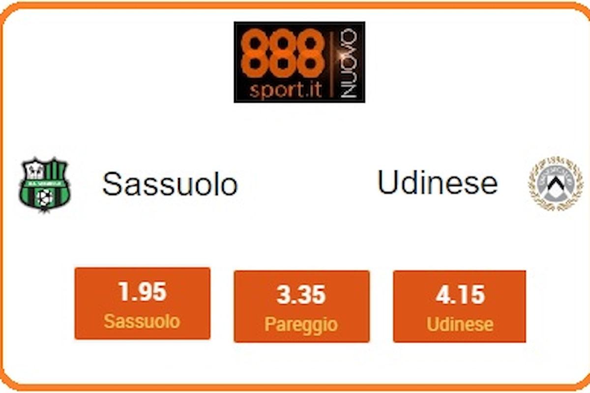 Serie A, Sassuolo-Udinese: neroverdi da tre punti a 1,95