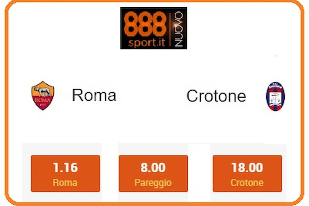 Serie A, Roma-Crotone: riscatto giallorosso a 1,15, la prima vittoria rossoblù a 18.00