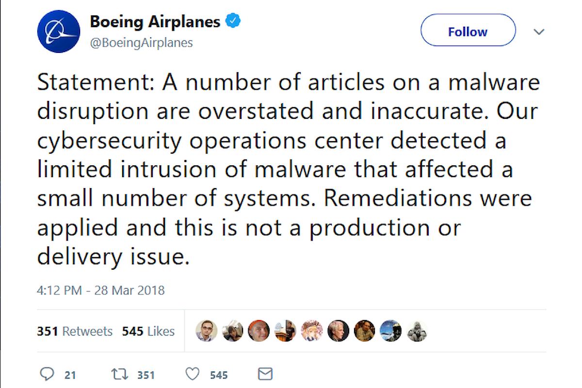 WannaCryptor torna sulla scena infettando i computer della Boeing